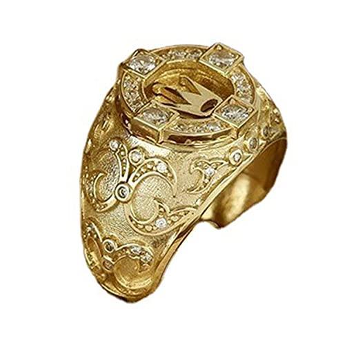 Greatangle-UK Joyería de Lujo para Hombre Corona de Oro de 18 k Anillo de Diamante Natural Anillos de Boda para Hombre Aniversario Regalo de cumpleaños Joyería para Fiesta Oro 11#
