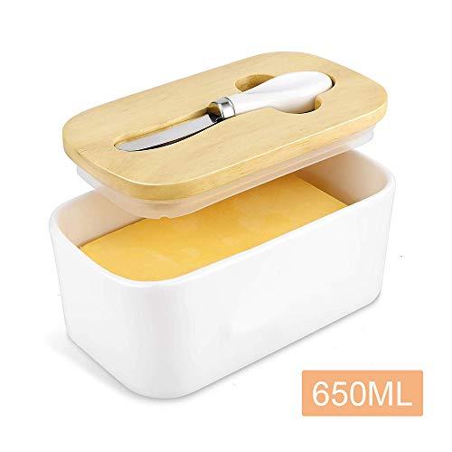 YChoice365 Scatola per Burro Triangolare con Coperchio per coltelli Contenitore in Ceramica Formaggio per Alimenti Contenitore per Alimenti Piatto Piatto Contenitore per Alimenti
