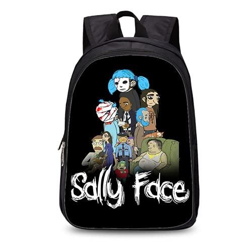Sally Face - Mochila infantil ajustable, resistente y duradera, juego de 3 piezas, incluye bolsa para comida y estuche para lápices, Sally1 (Negro) - FDGF-65