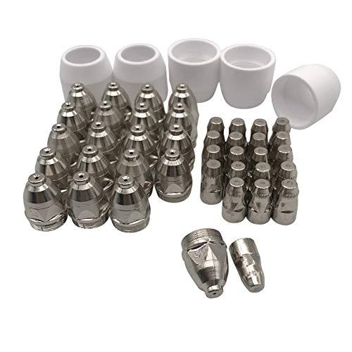 Magiin 45-teilig P-80 Plasmazubehör Verschleißteile, 20 Stück Plasmadüsen + 20 Stück Elektroden + 5 Stück Keramikkappen für P-80 Plasmaschneider-Brenner