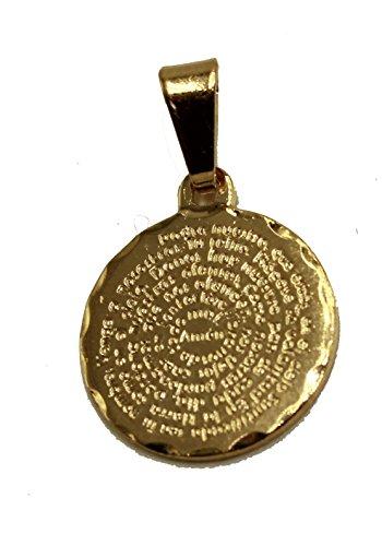 Diamantados of Florida Padre Nuestro - Colgante redondo chapado en oro de 18 quilates con cadena de 45,7 cm