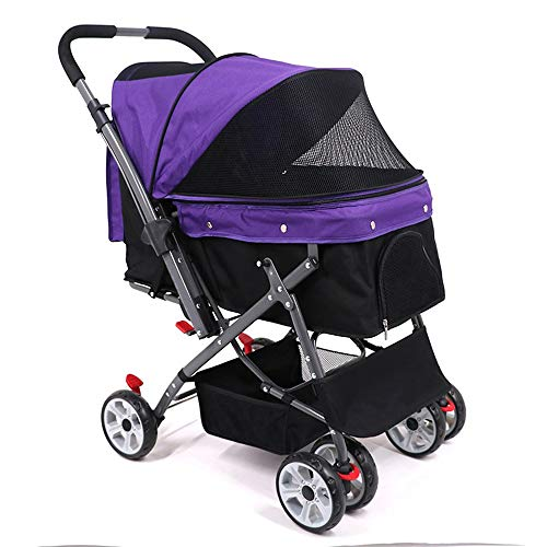 YUIOLIL 4 Wheels Elite Jogger Pet Stroller,Cat/Dog Easy Walk Folding Travel Carrier,Reversible Handle 360° Rotating Front Wheel Built-in Super Strong Spring Damping,Carriages Best for Cat & Dog