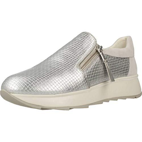 Geox D GENDRY A, Zapatillas Mujer, Plateado (Silver/Off Wht C0628), 39 EU