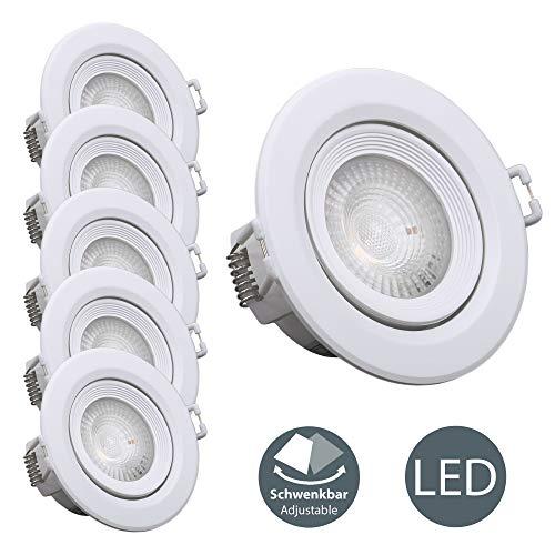 B.K.Licht I 5er Set schwenkbare LED Einbauleuchten I Schwenkbar I Inkl. 5x 4W LED-Module I 350lm I 3000K warmweiße Lichtfarbe I LED Einbaustrahler | Weiß