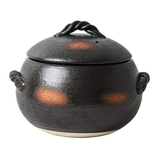 Fornello di Riso in Terracotta Sano Pentola in Ceramica di Grande capacità con Coperchio Zuppa Giapponese Hot Slow Stufato di Argilla 1.7l Fornello di Riso smaltato Resistente al Calore Nero