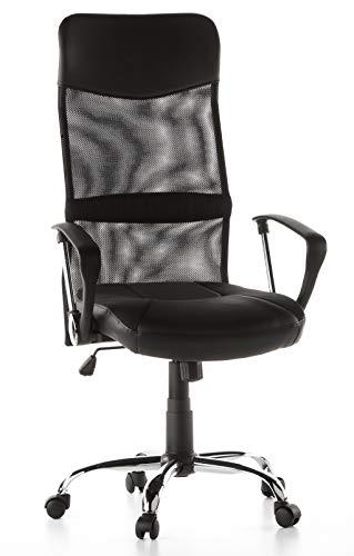hjh OFFICE 668010 Home-Office Drehstuhl ARTON 20 Kunstleder/Netz Schwarz Bürostuhl mit hoher...