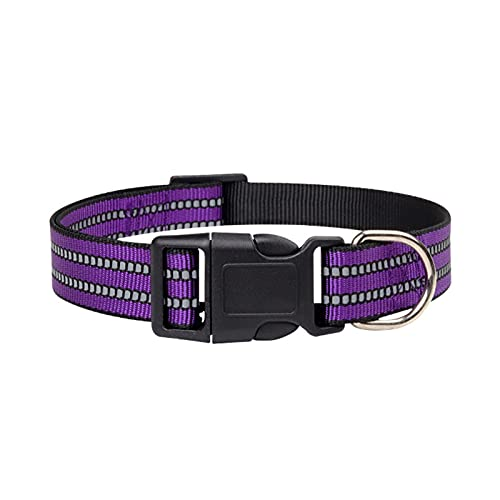 Putybudy Collar Reflectante para Perros Collar Ajustable de Nailon para Mascotas Anillo Suave Cómodo para Mascotas Medianas Grandes | Morado