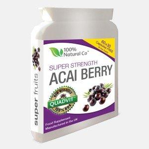 Super Strength Acai Berry Capsules 100% Natural Co Natural Freeze Dried Acai Berries, High Vitamin Complex & Antioxidant Supply Vegetarian Supplement