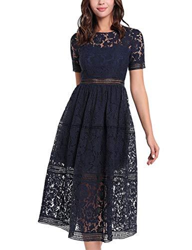 APART Elegantes Damen Kleid, Cocktailkleid, aus Blüten-Spitze, semi-transparent, mit Teilfutter, Nachtblau, 42