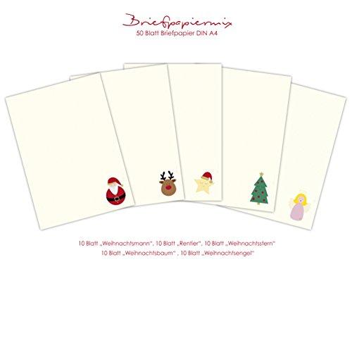 Kerstbriefpapier mix 50 vellen DIN A4 eenzijdig met kerstmotieven bedrukt/briefpapier voor kerst/kerstbrieven/kerstbriefpapier