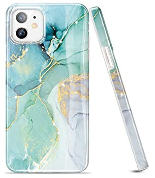 LUOLNH Gold Glitter Sparkle Case Compatible with iPhone 12 Mini Case 5.4 Inch Marble Design Shockproof Soft Silicone Rubber TPU Bumper Cover Skin Phone Case -Abstract Mint
