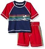 iXtreme Boys' Baby Printed Two Piece Rashguard Sets, Red, 18M
