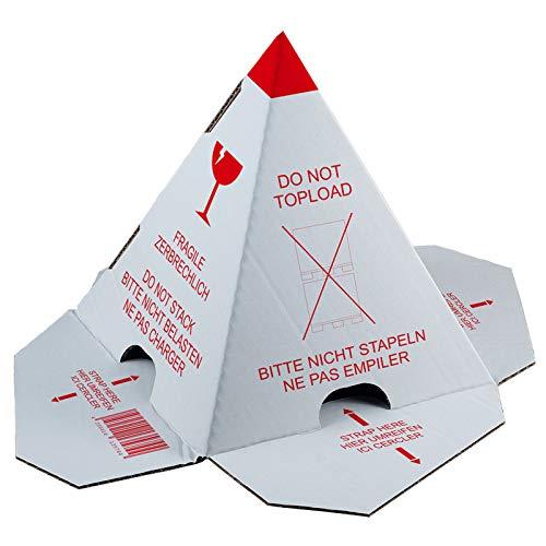 KK Verpackungen® Palettenhütchen mit Selbstklebestreifen | 300 Stück, Stapelschutzpyramide mit drei Sprachen
