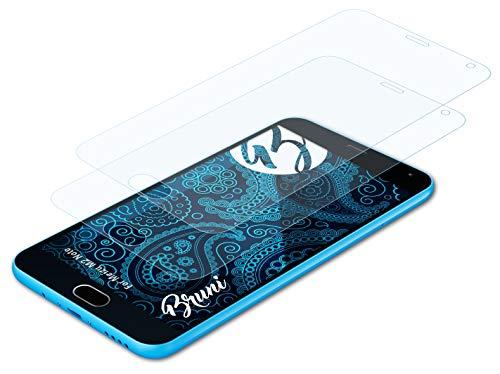 Bruni Schutzfolie kompatibel mit Meizu M2 Note Folie, glasklare Bildschirmschutzfolie (2X)