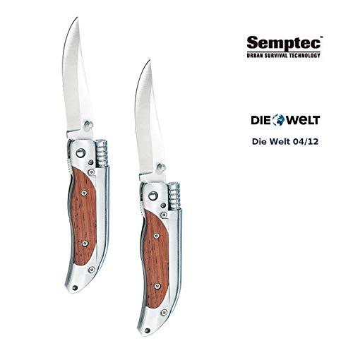 Semptec Urban Survival Technology Messer mit Feuerstein: 2er-Set Taschenmesser mit 8-cm-Klinge und Magnesium-Feuerstab (Magnesium Feuerzeug)