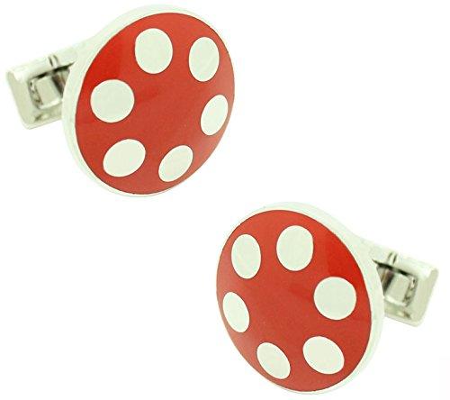 Masgemelos – Skultuna Balls boutons de manchette argent – Rouge