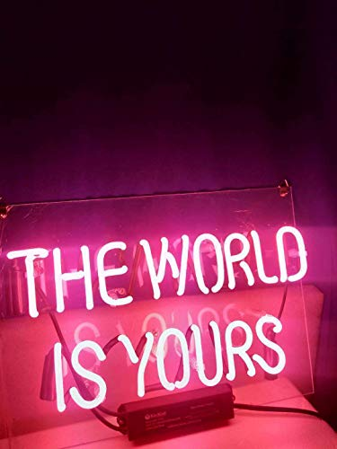 Queen Sense 14' The World is Yours Neon Sign Light Decorated Acrylic Panel Handmade Beer Bar Pub Man Cave Lamp UT207
