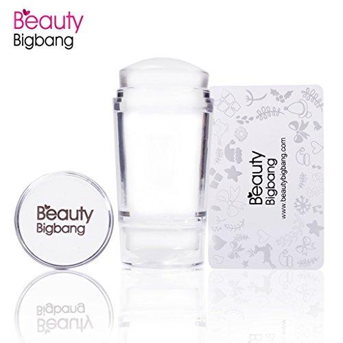 Beautybigbang Clear Jelly Stamper mit Abdeckkappen und Schaber - Klein und gross Doppelseitig Set