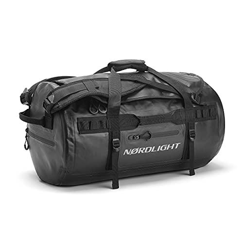 Nordlight Wasserfeste Reisetasche Duffle Bag 60L - mit Rucksackfunktion (schwarz) | Praktische Außen- und Innentaschen | Dry Bag, Sporttasche, Rucksack