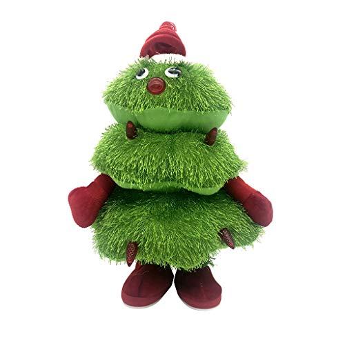 SOMESUN Weihnachtsdeko singend tanzend Weihnachtsbaum animierter Weihnachten Deko-Figur 35 cm Batterie Innenraum-Deko Fensterdeko Xmas
