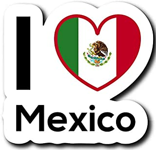 Love Mexico Flag Decal Sticker Home Pride Travel Car Truck Van Bumper Window Laptop Cup Wall - One 5 Inch Decal - MKS0210