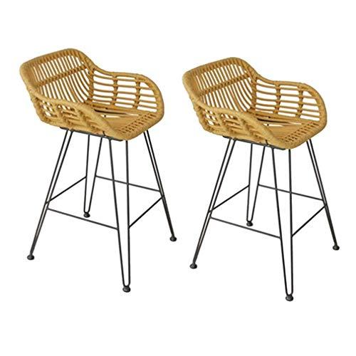 KHDJ Taburetes de Bar de 2 Piezas, taburetes de ratán,taburetes de Bar con Respaldo, sillas de Cocina para Balcones, Jardines, bistros, Altura del Asiento 65 cm,Double