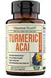 Turmeric Curcumin with Acai Berry Extract Powder 500 mg Dietary Supplement. Immune Health, Joint Support, Balanced Inflammation, Antioxidant Properties. Healthy Diet, Detox & Energy Boost 60 Capsules