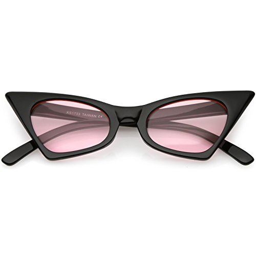 zeroUV - Retro Small High Pointed Tinted Colored Oval Lens Cat Eye Sunglasses 46mm (Black/Light Pink)