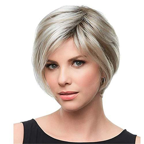 peluca Pelucas con estilo para las mujeres pelucas europeas y estadounidenses de la peluca de oro y blanca de la peluca de la mujer y el pelo corto corto, la regalo parcial de la peluca del cabello la