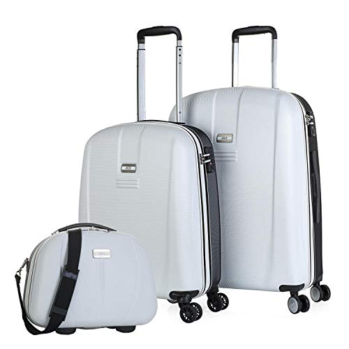 JASLEN - Set of 2 suitcases and Beauty case Rigid, Resistant and Light. ABS Telescopic Handle, 2 Handles, 4 Double Wheels. TSA Lock. Small and Medium. 56515B, Color White- Black