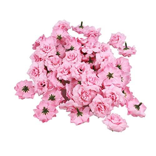 CENPEN Lote de 50 cabezas de flores artificiales de seda, rosas para sombreros, ropa, álbum, adorno, color rosa