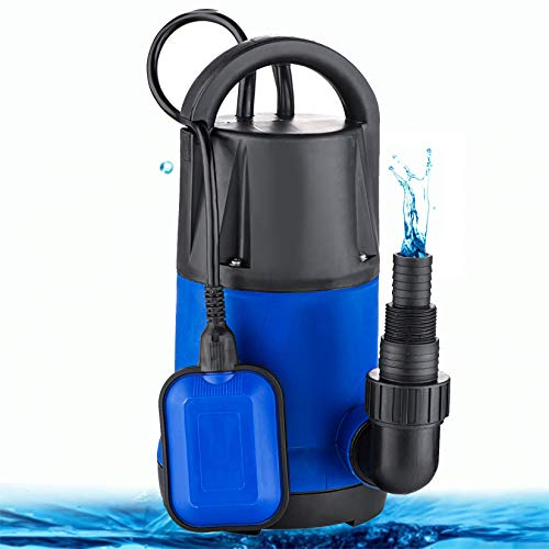 Hosmat 1HP Sump Pump Clean/Dirty Submersible Water Pump with Float Switch for Swimming Pool Garden House (Blue)