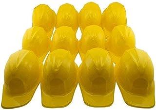 Adorox 12pcs Yellow Construction Soft Plastic Child Hat Helmet Costume Birthday Party Favor Kids Hard Cap Halloween Toy (12 Yellow Hats)