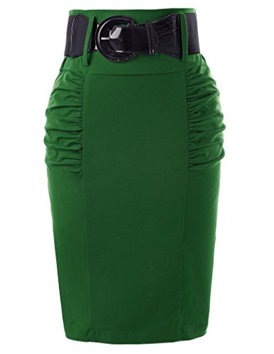 Sexy Knee Length Club Skirts Skirts for Night Out with Belts M KK271-6 Green