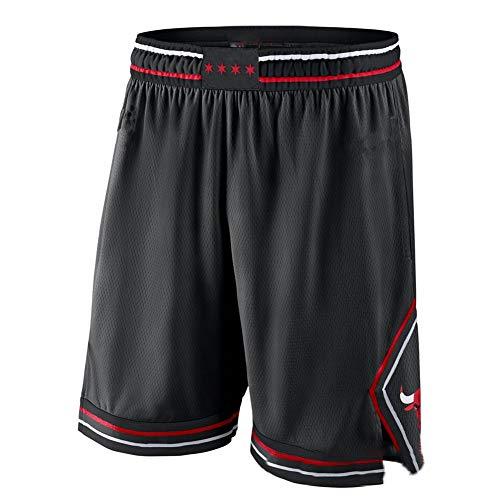 Chicago Bulls de Michael Jordan Basketball-Shorts 23# von Jugend von hoher Qualität für Männer, Retro-Mesh Stickerei, atmungsaktiv, Sport, lose Shorts, Geschenke, neutral Gr. XL, New Black