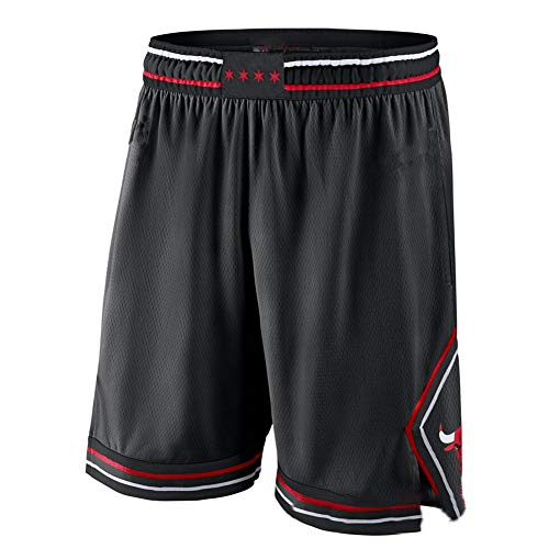 GHJK Chicago Bulls Michael Jordan Basketball Shorts # 23, Herren Jugend Qualitäts-Gewebe Retro Mesh-Stickerei Breathable Sports lose Shorts Geschenk, neutral New Black-XL