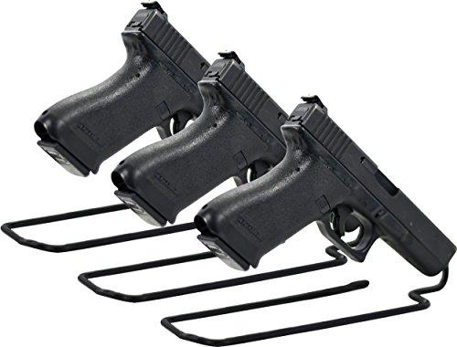BOOMSTICK Herren Handgun/Pistol Stand Rack, Set of 3 Kurzwaffenständer/Pistolenständer, 3er-Set Vinylbeschichtetes Metall für Waffenpistolen, Schwarz