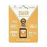 Amplim UHS-II SD Card 256GB SDXC - High Performance 300MB/S (2000X) UHS2 Extreme Speed 256 GB/256G XC Memory Card. V60 4K 8K UHSII TF Flash for Fujifilm, Nikon, Olympus, Panasonic, Sony Video Cameras