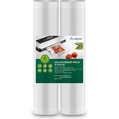 Aobosi Rollos Envasado al Vacío Bolsas Envasado al Vacío 2 Rollos 28x600cm para Sous Vide BPA Gratis y LFGB Aprobado