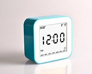 OLILEIO Chinesische Silent elektronischer Wecker, kreativen digitalen LCD-Nachtmodus der Uhr, leuchtende Locker sehen, Blau