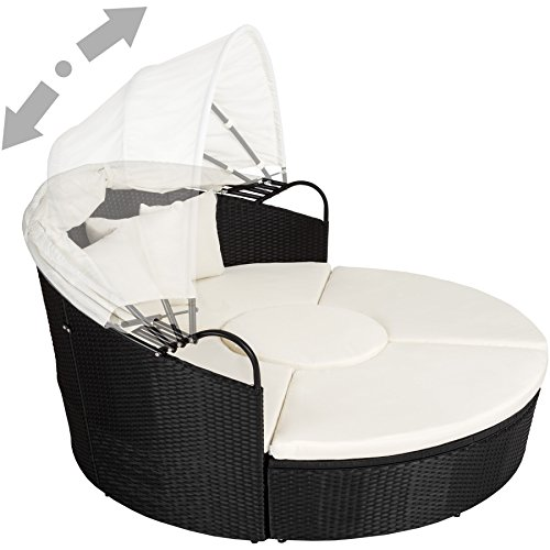 TecTake Canapé de jardin chaise longue bain de soleil en aluminium et résine tressée avec toit dépliable   largeur: env. 178cm   diverses couleurs au choix (noir   no. 402198)