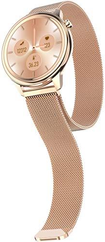Reloj inteligente con pantalla táctil completa para mujer con monitor de sueño de ritmo cardíaco, reloj de pulsera de actividad de fitness para teléfonos Android - oro