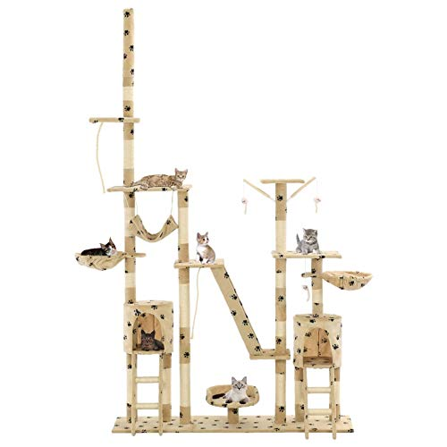 Krabpaal met sisal-krabomen 230-250 cm krabbomen Multi-Level Play-Center volledig functionele ladder en klimtouw