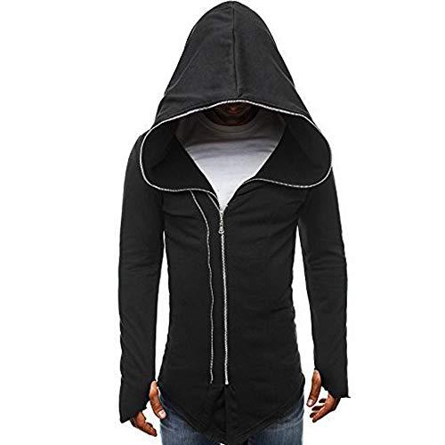 Komise Herren europäischen Code dunklen Mantel Kleidung Assassins Creed Reißverschluss langärmeligen Kapuzenpulli (2XL, Schwarz)