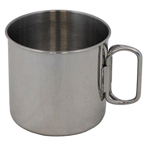 MFH Rostfreie Tasse aus Edelstahl mit Klappgriffen Feldtasse Feldbecher Kaffebecher Outdoor Tasse Campingtasse 450 ml