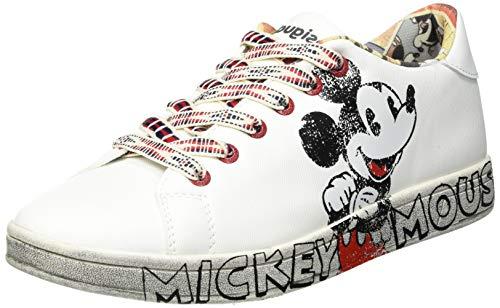 Desigual Damen Shoes_Cosmic_Mickey Sneakers Woman, White, 41 EU