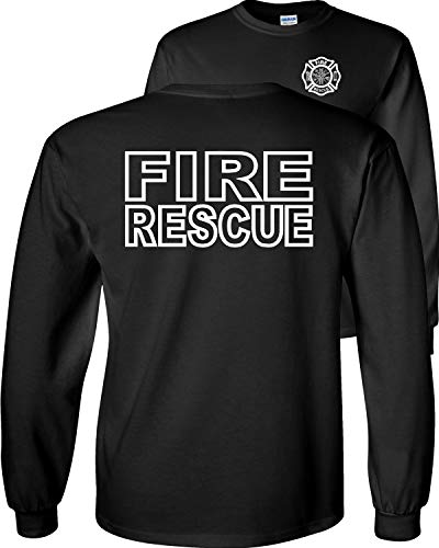 Fair Game Fire Rescue Long Sleeve T-Shirt Fire Department Duty Firefighter Adult Unisex-Black-Large