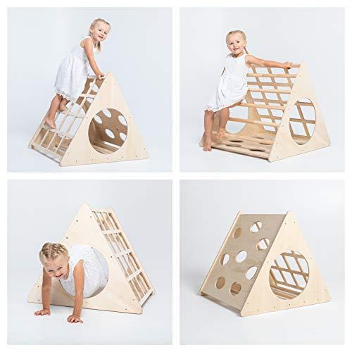 Sweet Home from wood Kletterdreieck - Indoor-Klettergerüst aus Holz - Für Kinder ab 6 Monate - Fördert motorische Entwicklung, Gleichgewicht,Nach Pikler & Montessori (Ohne Rampe)