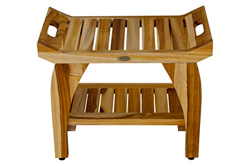 EcoDecors 24″ Tranquility Teak Eastern Style Shower Bench