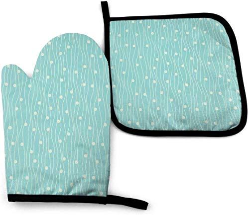 Eliuji Ofenhandschuh und Topflappen setzen weiße Punkte Linien blaugrüne Küche hitzebeständig zum Kochen Backen Grillen und Grillen dekorativ